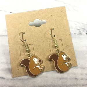 Gold plated squirrel earrings